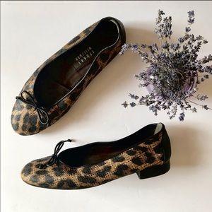 Stuart Weitzman Leather Leopard Print Flats